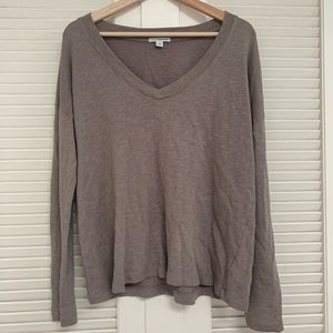 James Perse standard taupe grey long sleeve